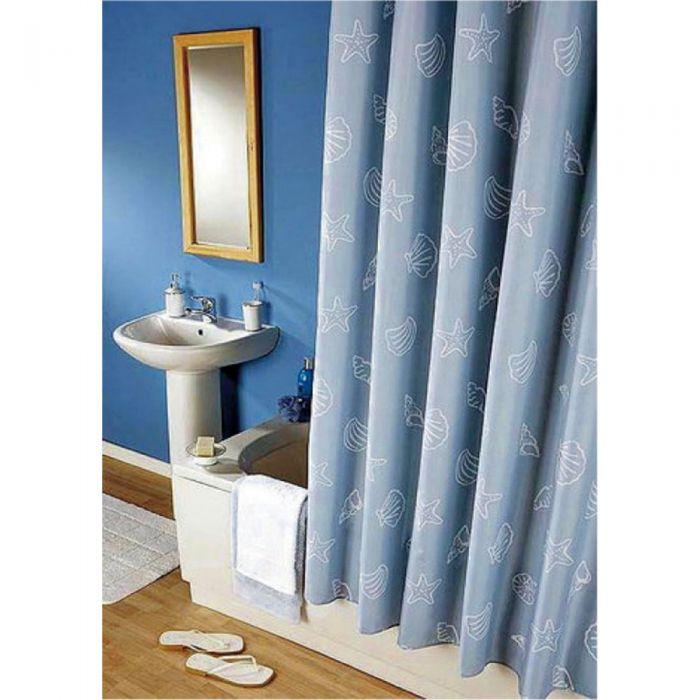 stoff duschvorhang waschbar blau mit beschwerungsband vorhang 180x200 ringe. Black Bedroom Furniture Sets. Home Design Ideas