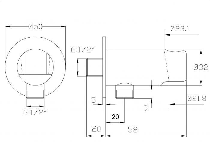 Brausehalter Duschbrause Handbrause Dusche Schlauch 150 cm mit Wandanschluss