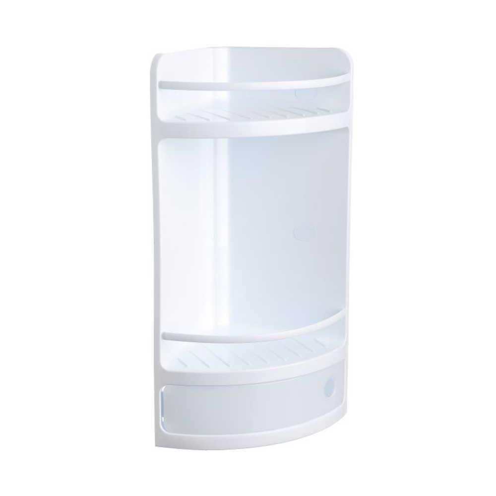badezimmer regal eck badregal wei kunststoff ohne bohren. Black Bedroom Furniture Sets. Home Design Ideas