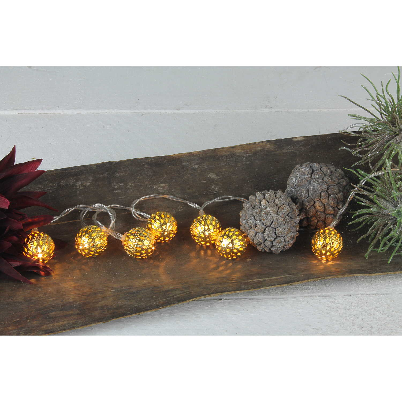 LED Lichterkette Metall-Kugel Gold Deko-Licht Batterie Weihnachtsbeleuchtung