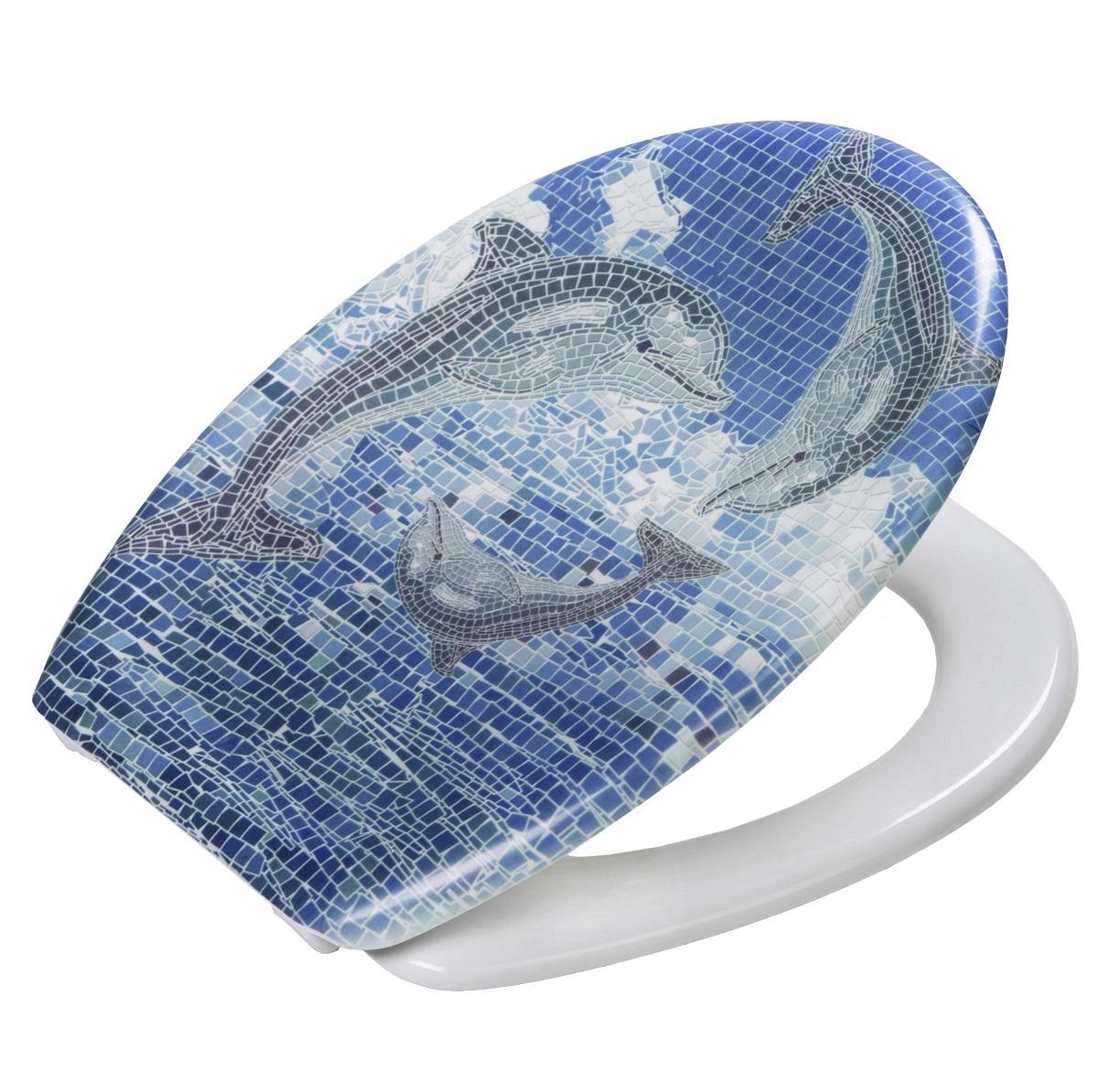 toilettensitz wc sitz toilettendeckel klo deckel klobrille mosaik delphin blau ebay. Black Bedroom Furniture Sets. Home Design Ideas