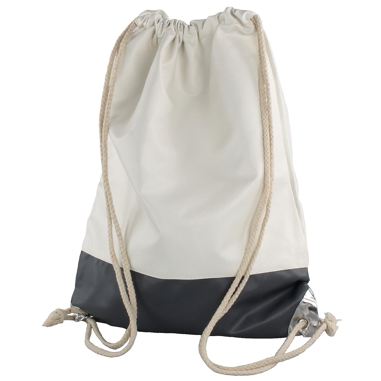 0993d35b6db65 Turnbeutel Jute-Beutel Stoff-Tasche Sporttasche Gym-Sack Creme Grau Clubsac