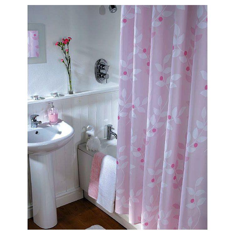 textil duschvorhang waschbar rosa pink ros 180x200 cm dusche bad vorhang ebay. Black Bedroom Furniture Sets. Home Design Ideas