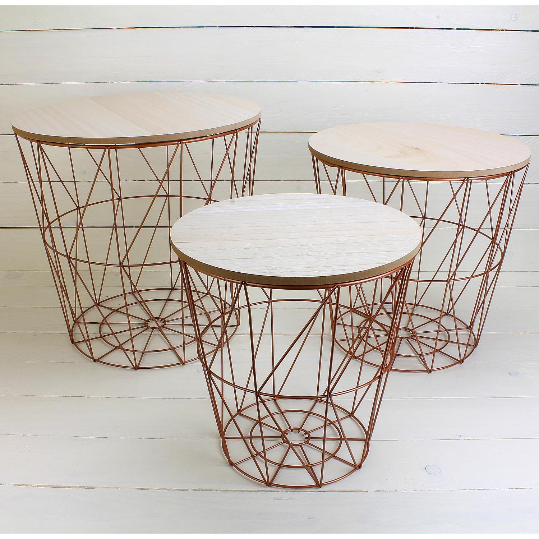 Kupfer Wohnzimmer Deko: Beistelltisch 3er Set Couchtisch Kupfer Tisch