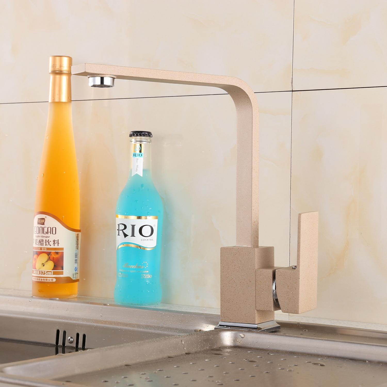 Rubinetto cucina rubinetto beige quadrato rettangolare piatto rubinetto lavello miscelatore - Rubinetto miscelatore cucina ...